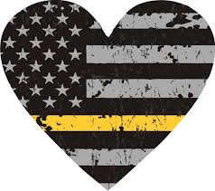 Thin Gold Line American Flag Distressed Heart Shaped Decal Policetees Com