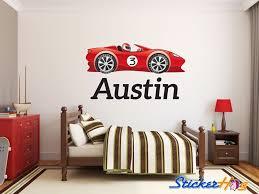 Boys Custom Red Race Car 1 Name Monogram Decal Nursery Room Vinyl Wall Decal Graphics Boys Baby Bedroom Home Decor