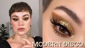 gold glitter holiday makeup tutorial