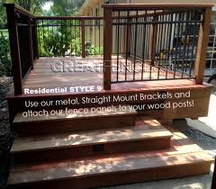 Attach Our Fence Panels To Your Own Wood Posts Using Straight Mount Brackets Aluminum Fence Wood Fence Fence Design