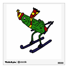 Funny Skiing Pickle Cartoon Wall Decal Zazzle Com