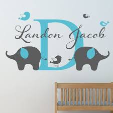 Custom Elephant And Birds Boys Name Wall Decal Wall Sticker Outlet Wallstickeroutl Boys Wall Decals Nursery Wall Stickers Boys Wall Stickers