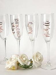 Rose Gold Name Decal Champagne Flute Decal Name Rose Gold Etsy