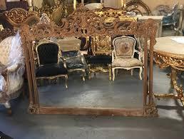 carved wood overmantle mirror