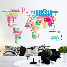 Large Colorful World Map Vinyl Wall Decal Art Mural Home Decor Wall Stickers Bedroom Home Office Decorations Wall Stickers Aliexpress
