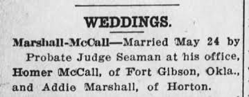Homer McCall & Addie Marshall marriage- In FTM - Newspapers.com