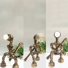 Industrial Robot Table Light With Open Bulb Metal 1 Light Bronze Desk Lamp For Kid Bedroom Takeluckhome Com