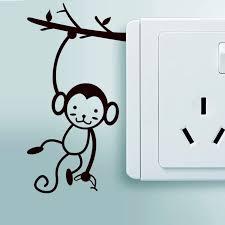 Light Switch Vinyl Decal Monkey Tree Switch Sticker Hanging Monkey Wall Murals Creative Kids Room Decor Cute Switch Mural Az009 Wall Stickers Aliexpress
