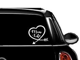 Amazon Com Heart Mom Life Car Truck Laptop White Vinyl Decal Automotive