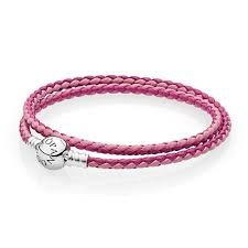 pink mix double woven leather bracelet