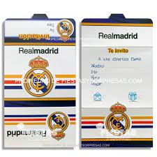Tarjetas De Invitacion Real Madrid Paquete X 12 Fiestas Y