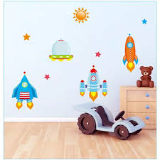 Diy Spaceship Wall Stickers Sticker For Kids Room Boys Baby Nursery Cartoon Wall Decals Home Decorations Spaceship Wall Stickers Sticker For Kids Roomwall Sticker Aliexpress