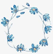 fresh blue flowers hand drawn garland decorative elements cute