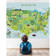 Map Of United States Fabric Sticker Peel And Stick Removable Usa Wall Decal J Boutique Stencils Royalwallskins