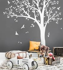 White Tree Wall Decals Nursery Large Tree Wall Sticker Baby Etsy