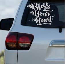 Southern Quotes Vinyl Decals For Cars Truck Bless Your Heart Monogram For Laptop Ebay