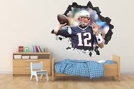 Tom Brady Patriots Wall Hole 3d Decal Vinyl Sticker Decor Room Smashed 01