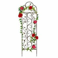 60x15in Iron Arched Garden Trellis Fence Panel W Branches Birds For Climbing Pl 842957106769 Ebay