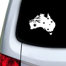 Amazon Com Ride In Style Australia Map Flag Bumper Sticker Decal 5 X 4 Automotive