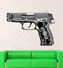Wall Stickers Vinyl Decal Pistol Gun Weapon Pattern Mafia War Unique G Wallstickers4you