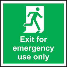 Exit For Emergency Use Only Safety Sign Self Adhesive Sticker 300mm X 300mm Amazon Com Industrial Scientific