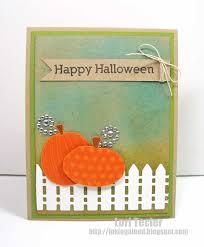 A White Picket Fence Is Perfect For This Small Pumpkin Patch And I Love The Sparkly Vines On The Pumpkins Diy Halloween Cards Halloween Fence Homemade Cards