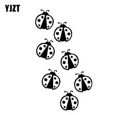Yjzt 10cm 17 7cm 7 Ladybug Vinyl Decal Car Sticker Bug Insect Cute Outdoor Animal Black Silver C19 0181 Car Stickers Aliexpress
