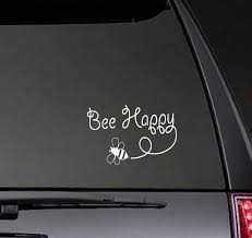 Black Silver Cute Bee Happy Car Sticker Vinyl For Funny Inspirational Waterproof Decal Decoration Accessories C775 Car Stickers Aliexpress