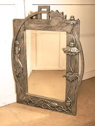 large art nouveau style pewter wall mirror