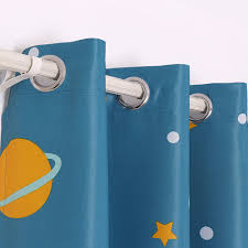 Star Blue Outer Space Curtains For Kids Boys Room Short Window