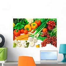 Amazon Com Wallmonkeys Vegetables And Fruits Arrangement Wall Decal Peel And Stick Graphic Wm307246 24 In W X 16 In H Home Kitchen
