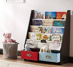 Amazon Com Seirione Kids Bookshelf 4 Sling Book Display Stand 2 Toys Storage Organizer Cube Bins Espresso Furniture Decor