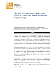 PDF) The Search for Meaningful e-Learning at Canadian Universities: A  Multi-Institutional Research Study