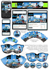 Kit Imprimible Pitufos 3d Invitaciones Tarjetas Todo Para Tu Cumple