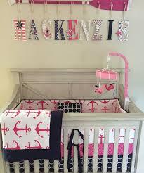 crib bedding set hot pink and navy