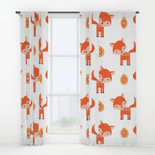 Fox Curtains Fox Window Curtains Foxes Curtains Childs Etsy