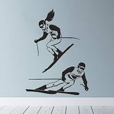 Amazon Com Skiing Wall Decal Ski Vinyl Stickers Ski Decal Skier Decal Ski Lift Winter Sport Art Decal Ski Jumping Freestyle Extreme Sports 649uk Home Kitchen