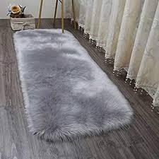 grey bedding linens faux fur rug soft