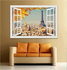 3d Window View Wall Sticker Sunset Landscape City Sticker Decal Vinyl Wallpaper Home Decor Living Room 24 X36 60cm X 90cm Wish