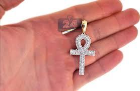 mens diamond ankh loop cross pendant