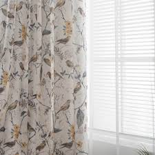 White Yellow Gray Birds Floral Curtains Living Room Blackout Drapes Anady Top