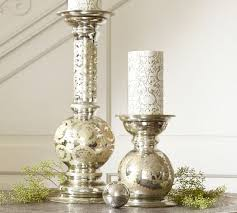 etched mercury glass pillar holders