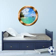 Beach Side 3d Porthole Ocean View Vinyl Decal Family Wall Art Etsy