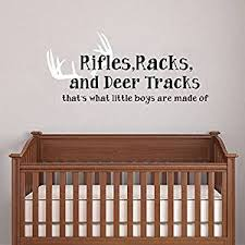 Buy Wall Decal Decor Rifles Racks Deer Tracks Thats What Little Boys Are Made Of Baby Boy Nursery Decor Hunting Theme Camo Deer Room Crib Black White 21 H X46 W In Cheap Price