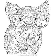 Volwassen Kleurplaat Boek Een Pig Zen Stijl Stockvector