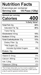pizza nutrition facts label