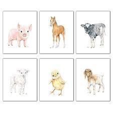 Amazon Com Farm Nursery Art Prints Set Of 6 Unframed Pick Your Original Baby Animal Watercolors Kids Room Wall Decor Lamb Chick Pig Horse Cow Goat Handmade