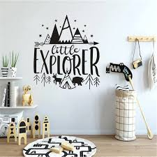 Kids Room Decor Little Explorer Design Wall Decals Bear With Tents Vinyl Wall Sticker Kids Adventure Wall Murals Decor Az968 Wall Stickers Aliexpress