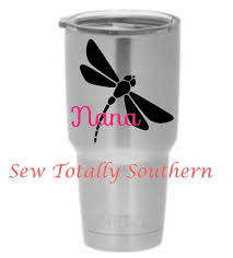 Personalized Dragonfly Decal For Your Yeti Rambler Tumbler Mug Or Glass Diy Monogram Yeti Cup Designs Monogram Decal