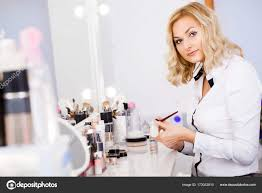 makeup artist at his workplace in the